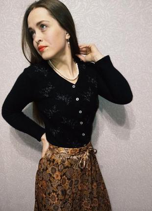 Laura ashley ангора шерсть кофта xs s винтаж