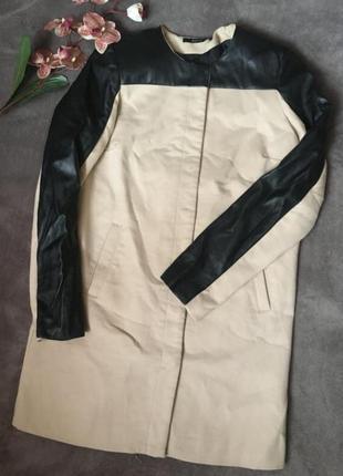 Пальто, пальто на заклёпках, пальто с кожаными рукавами