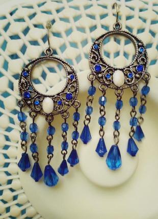 Серьги синие