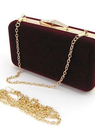 Бордовая маленькая сумка-клатч вечерний бокс на цепочке велюровый