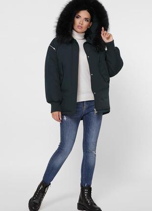 """Зимняя куртка с натуральным мехом """"енот""""4 фото"""