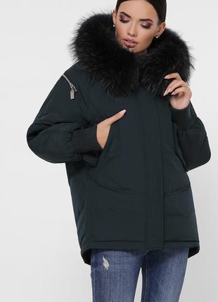 """Зимняя куртка с натуральным мехом """"енот""""3 фото"""