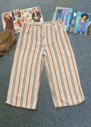 Льняные капри брюки штаны кюлоты лен палаццо большой размер
