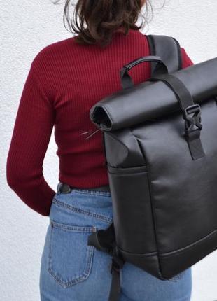 Кожаный рюкзак с экокожи роллтоп ролтоп rolltop (отделение под ноутбук)