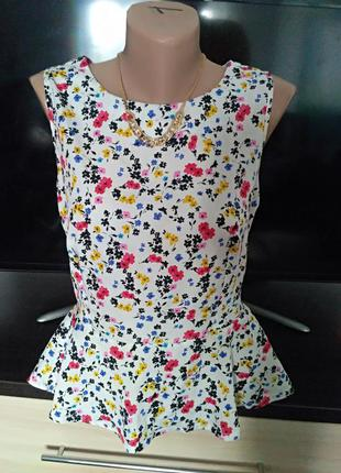 Блуза с баской,в цветочки