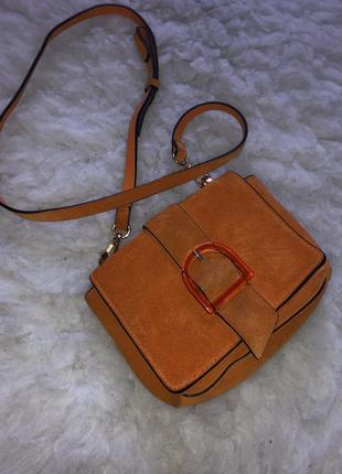Замшевая натуральная сумка zara кожа кожаная рыжая замша крос боди плечо