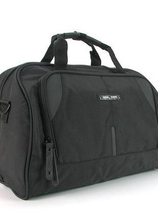 Серая дорожная текстильная спортивная сумка