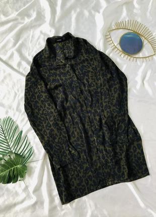 Леопардовое платье рубашка с рукавом