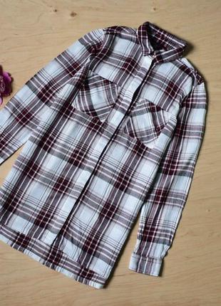 Удлиненная  рубашка блузка  в клетку new look