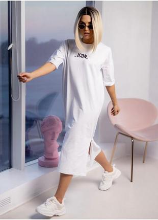 Платье-футболка миди с разрезом с надписью белое