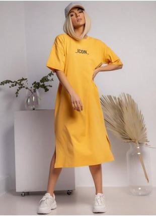 Платье-футболка миди с разрезом с надписью оранжевое
