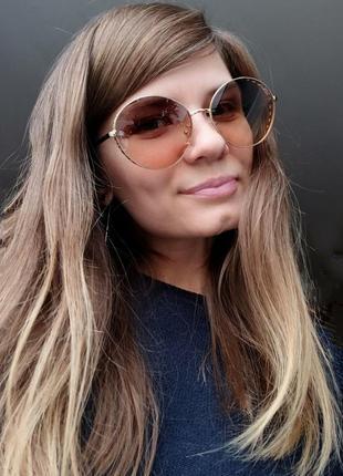 Новые модные очки раунды со стразами по бокам, бежевые