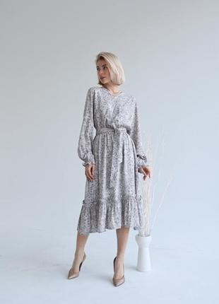 Платье-миди с цветочным принтом (все расцветки)