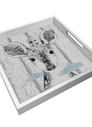 Деревянный поднос с принтом олененок 33х33 см (pdn_19n007_wh)