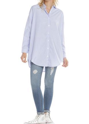 Удлиненная женская рубашка в полоску