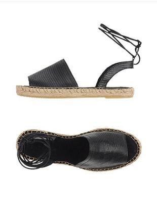 Черные эспадрильи от pieces  кожаные со шнуровкой размер 41