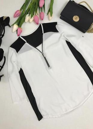 Черно-белая ,шифоновая блузка на молнии .