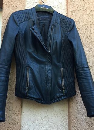 Кожаная куртка zara/куртка из натуральной кожи/ стильная ветровка/куртка zara