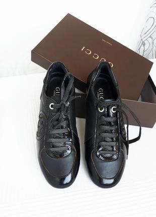 Кожаные кроссовки туфли мокасины - guсci италия 36-37
