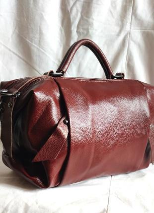 Сумка-саквояж кожаная кожанная кожа бочонок сумочка
