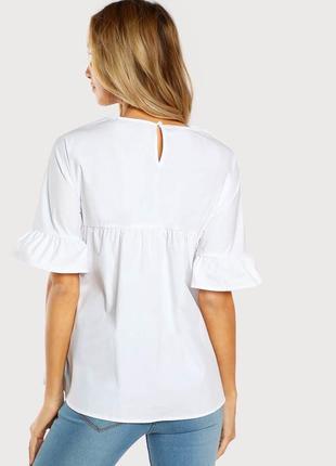 Крутая повседневная объемная белая блуза с вышивкой shein3 фото