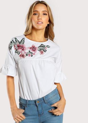 Крутая повседневная объемная белая блуза с вышивкой shein4 фото