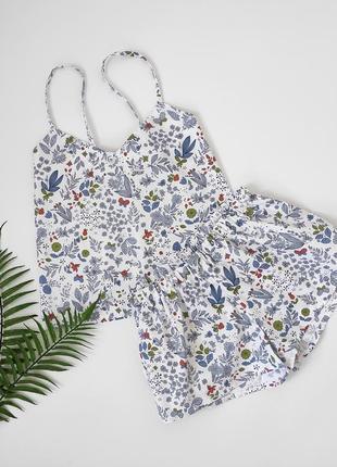 Летняя пижама из хлопка с растительным принтом