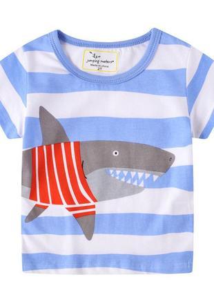Футболка для мальчика shark in a sweater,jumping meters,2-7лет