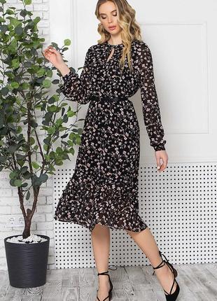 Очаровательное шифоновое платье с поясом* бесплатная доставка новой почтой