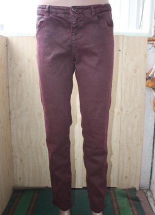 Стильные штаны джинсы цвета марсала бордо zara