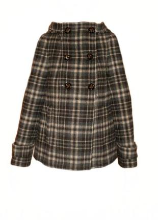 Полушерстяное пальто с капюшоном zara, расклешенное пальто в клетку можно для беременных