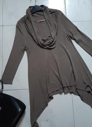 Кофта ассиметричная свитер с хомутом кардиган кофта длинная женская брендовая кофта s xs