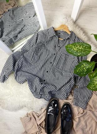 Базовая хлопковая рубашка оверсайз прямого кроя в клетку как zara mango