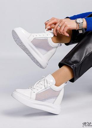 Кожаные кроссовки на танкетке с сеткой натуральная кожа сникерсы