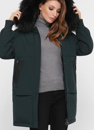 """Стильная зимняя куртка с натуральным мехом """"енот"""""""