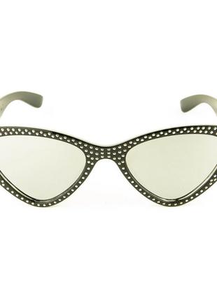 Модные очки кошачий глаз - черные зеркальные со стразами (имитация)