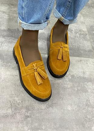 Лоферы туфли женские замшевые