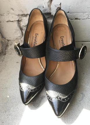 Итальянские кожаные туфли / туфли на каблуке каблуке