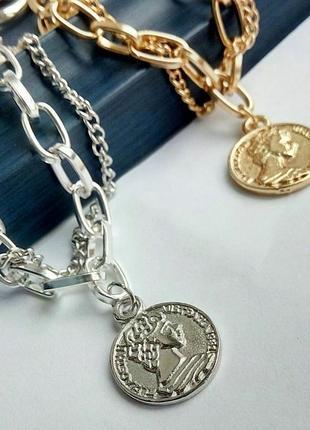Трендовый браслет двойная цепь монетка серебристый золотистый