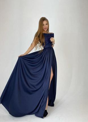 Платье-макси с кружевным верхом синее