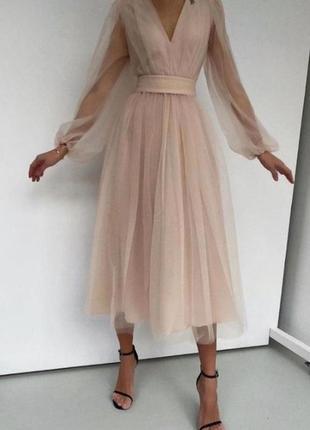 Хит продаж!!! бежевое фатиновое платье