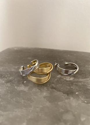 Золотые серебрянные серьги модные тред 2021