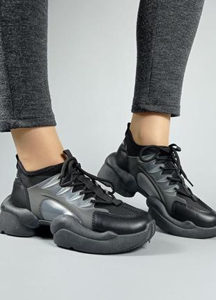 Женские чёрные кроссовки текстиль со вставками из силикона