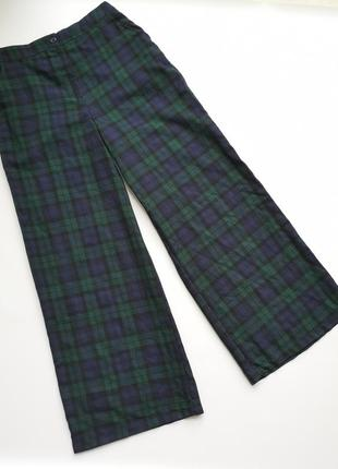 Широкие штаны брюки шаровары кюлоты палаццо в клетку в клеточку5 фото