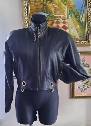 Antica pelleria трендовая укороченная куртка оверсайз из натуральной кожи италия