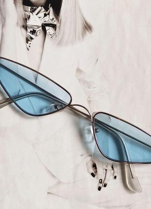 Солнцезащитные очки маленький треугольник голубой в серебре