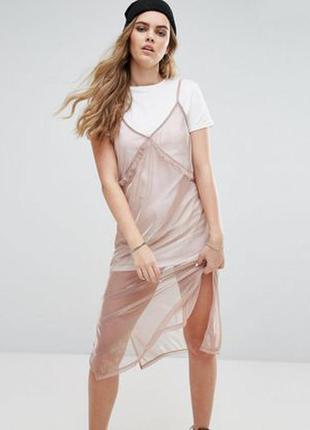 Платье 2 в 1 металлик