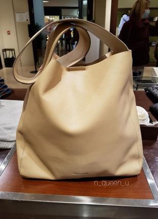 Бежева шкіряна сумка на плече, бренд massimo dutti! оригінал, з португалії!