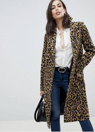 Леопардовое пальто демисезонное большого размера asos