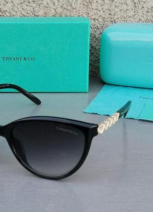 Tiffany and co очки женские солнцезащитные черные с золотом градиент
